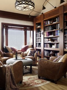 Home library- Bold/ thick shelves and heavy/ wide casement. I like these bookcases a lot!