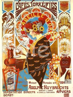 Antique French Art Nouveau advertising print poster - Belle epoque Coffee Mucha's style