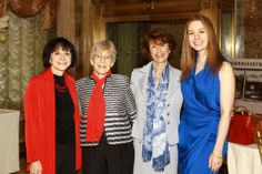 Ruth L. Gottesman, Ed. D., Chair, Einstein Board of Overseers, center left, and Linda Altman, center right, Einstein Overseer and past president, Einstein Women's Division, with Olympic gold medal figure skater Sarah Hughes, past Spirit of Achievement honoree, and her mother, Amy Hughes at the 2014 Spirit of Achievement Luncheon