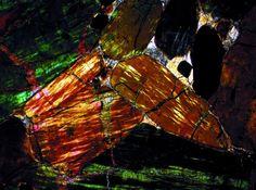 NWA 2737 Martian meteorite thin section viewed through a polarizing microscope