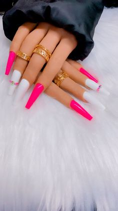 Bright Acrylic Nails, Long Square Acrylic Nails, Bling Acrylic Nails, Coffin Nails Long, Glue On Nails, Bright Pink Nails, Long Square Nails, Coffin Nails Designs Summer, Acrylic Nail Designs