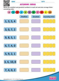 Kindergarten math ordering numbers worksheets that allow kids to Write the smallest and greatest numbers in each set and also arrange them ascending & descending order.These worksheets are free printable. Number Worksheets Kindergarten, Math Addition Worksheets, Printable Math Worksheets, 1st Grade Worksheets, 1st Grade Math, Free Printable, Grade 1, Class 1 Maths, Hindi Worksheets