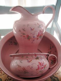 Antique Roses Pink Enamelware by peregrine blue, via Flickr