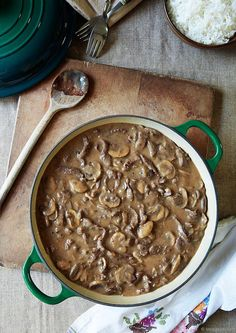 Kim's easy crockpot creamy beef stew is made with mushrooms, garlic, and herbs. It's an easy beef stew and cooks with no fuss in the slow cooker. Beef And Mushroom Stew, Easy Beef Stew, Mushroom Stroganoff, Beef Recipes, Cooking Recipes, Jackfruit Recipes, Oats Recipes, Chicken Recipes, Rice Recipes