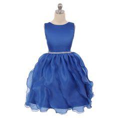 52.00$  Buy now - http://viouy.justgood.pw/vig/item.php?t=yw7wbyy13587 - Royal Blue Satin Soft Organza Flower Girl Dress Birthday Bridesmaid Prom Wedding