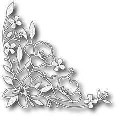 Memory Box Wildflower Corner Die. 100% steel craft die from Memory Box. For use on cardstock, felt, and fabric. Cut, stencil, emboss, create. Use in most leadin