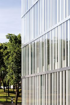 Image 29 of 30 from gallery of Les Quinconces Cultural Center / Babin+Renaud. Facade Architecture, Contemporary Architecture, Fritted Glass, Glazed Glass, Light Colored Wood, Lobby Interior, Interior Design, Great Buildings And Structures, Glass Facades