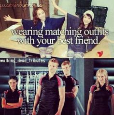 Aw best friendzies they are so close theyre competing in the hunger games together how adorwables Hunger Games Memes, Hunger Games Fandom, Hunger Games Catching Fire, Hunger Games Trilogy, I Volunteer As Tribute, Katniss Everdeen, Mockingjay, Hilarious, Funny