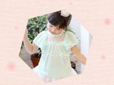 ☆正版韓國童裝精品禮服洋裝 幸運草綠天使蕾絲上衣 $599