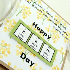 Marie Curie Birthday Card  Yellow and Green by ShopGibberish, $5.00