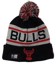9c9781d6385 Chicago Bulls Black Biggest Fan Cuffed Pom Knit Beanie HatCapSports amp   Outdoors