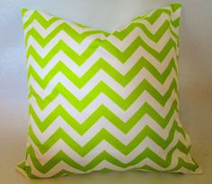 Chevron Decorative throw pillow cover in lime green/ by LivePlush