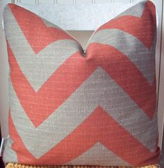 "Decorative Pillow Rust Zig Zag Chevron Burnt Orange Stone Throw Pillow Accent Pillow 18"". $33.00, via Etsy."
