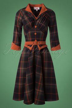 Miss Candyfloss Brick Tartan Swing Dress 102 79 22142 20171027 0008W