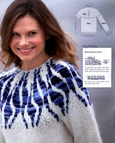 An interesting pullover with a jacquard yoke. Discussion on LiveInternet - Russian Online Diary Service Fair Isle Knitting Patterns, Fair Isle Pattern, Sweater Knitting Patterns, Knitting Charts, Lace Knitting, Knit Patterns, Knit Crochet, Handgestrickte Pullover, Hand Knitted Sweaters