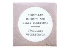Serviettes Chocolate understands 6,50 € http://www.laboutiquedelouise.com