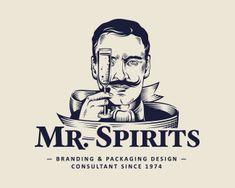 Mr Spirits Logo Branding, Branding Design, Logo Design, Pub Logo, Retro Packaging, Barber Logo, Corner Bar, Brand Manual, Face Icon