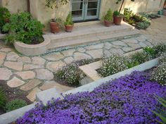 mix of plantings: in-ground, in built-in boxes and containers