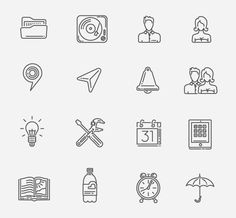 100 free icons set, to download please link to behance