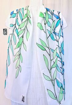 Hand Painted Silk Scarf Blue Silk Scarf Blue by SilkScarvesTakuyo Hand Painted Dress, Painted Clothes, Painted Silk, Chiffon Scarf, Silk Chiffon, Spring Look, Flower Pattern Design, Silk Art, Summer Scarves