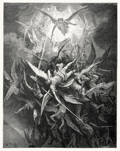 Gustave Dore illustration to Paradise Lost by John Milton: Lucifer and His Angels Cast Out. Gustave Dore, Rockwell Kent, Norman Rockwell, Angels Among Us, Angels And Demons, Fallen Angels, Dark Angels, Vs Angels, John Milton Paradise Lost
