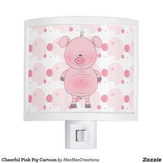 Cheerful Pink Pig Cartoon Night Lite