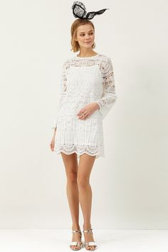 Shea Lace Dress  >>Discover the latest fashion trends online at storets.com #whitelace #lacedress #whitedress