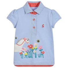 2df90e6af922 brand Girls Blue Cotton Polo Shirt at Childrensalon.com
