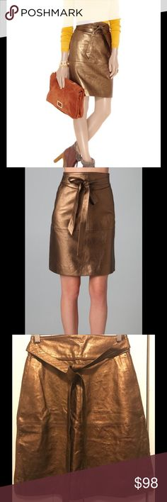 """Marc by Marc Jacobs Metallic Leather skirt This metallic leather skirt features a self-belt tie and suede piping at the waist. Slant hip pockets and hidden back zip. Lined.  * 20"""" long. * Fabrication: Metallic leather Marc by Marc Jacobs Skirts Pencil"""