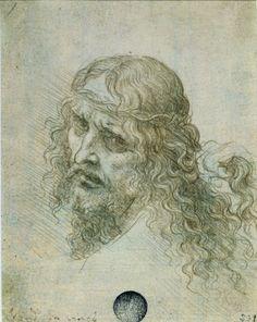 Jesus Christ by Leonardo da Vinci - Drawings Michelangelo, Leonardo Da Vinci Dibujos, Silverpoint, Mona Lisa, High Renaissance, Renaissance Artists, Rule Of Thirds, Pierre Auguste Renoir, Old Master