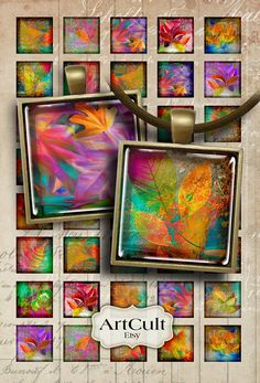 FOLIAGE - Digital Collage Sheet 1x1 inch size square Images Printable downloads for pendants, magnets by ArtCult