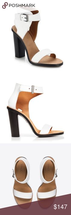 🚨Price⬇️VINCE Nicole Open Toe Leather Sandals 10 Give your style a lift and add some sparkle to your laid back attire in these stand out Vince Nicole Block-Heeled Leather Sandals. These fabulous Vince shoes will give you maximum style. Material: leather upper/lining/sole. Color: white upper, nude lining/sole, black heel. Size: US 10. Made in Italy 🇮🇹 Brand new without a box. Dust-bag is included 🚫no trades, price is firm🚫 Vince Shoes Sandals