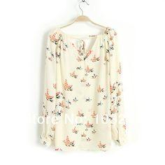 Moda mulher elegante blusa floral blusa casual marca qualidade camisa do vintage blusinhas tops blusas camisas plus size 01F800 em Blusas de Roupas e Acessórios Femininos no AliExpress.com | Alibaba Group