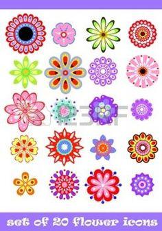 fantasy flowers: 20 isolated decorative colorful flower set Illustration