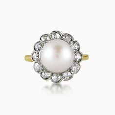 CULTURED PEARL AND DIAMOND CIRCULAR CLUSTER RING