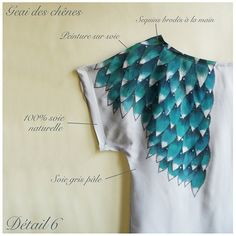 pretty turquoise color painted silk top...