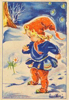 Darling Vintage Swedish Christmas Card! Little Girl in Orange Hat & Pants