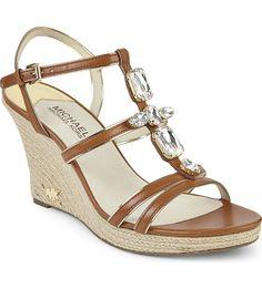 MICHAEL MICHAEL KORS - Jayden embellished leather wedge sandals | Selfridges.com
