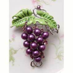 Vintage Grapes Brooch Purple Faux Pearl Rhinestones  Enamel | AestheticsAndOldLace - Jewelry on ArtFire