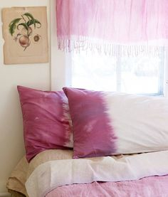 Ombre pillow cases! I'm DDDdddefinitely going to ombrify my white curtains in my room. But what color...? I love this look, I hope it stays trendy for a while.