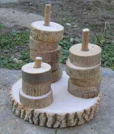 Natural stacker toy - be sure to sand and blunt edges well. Clever idea - Looks easy to make as well