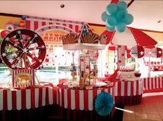 circus table decorations - Google Search. Love the table covers and blue balloons that look like cotton candy