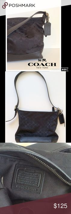 """Beautiful Signature Logo Bucket Bag by Coach This beautiful black fabric bag from Coach features the signature logo and leather. Measure 12""""x10"""" with 14.5"""" - 17"""" adjustable drop strap. This bag is like new. Coach Bags"""