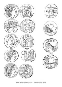 Ancient Greek Coins Printable - coloring sheets for ancient greece. Mystery of History Volume Lesson 75 Ancient Greek Art, Ancient Rome, Egyptian Art, Ancient Aliens, History Activities, Teaching History, Greek History, Ancient History, European History