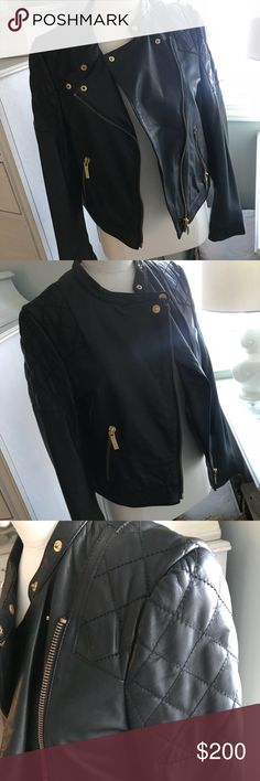 Michael Kors Leather Jacket Leather jacket, authentic MK. Quilted detail on shoulders, gold harware. Michael Kors Jackets & Coats