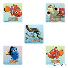Make a splash with Nemo and friends! These Finding Nemo Stickers feature Dory, Nem, Squirt, and Crush and make the perfect Disney party supplies! Baby Boy First Birthday, 1st Birthday Parties, 3rd Birthday, Birthday Ideas, Finding Nemo Party Supplies, Carnival Prizes, Finding Dory, Oriental Trading, Disney Pixar