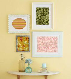 Fabric or scrapbook paper artwork Diy Wall Art, Diy Art, Wall Decor, Framed Fabric, Fabric Art, Scrap Fabric, Fabric Remnants, Framed Wall, Fabric Scraps