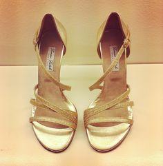 Golden grecian chic tango shoes