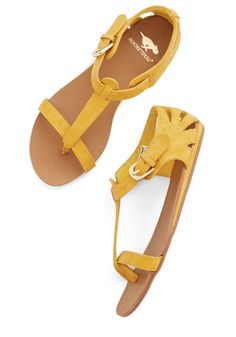 Walk on Sunshine Sandal in Yellow. When the rays of the sun brighten up the day, dont stay indoors - slip your toes into these sunflower-yellow sandals and get outside for a day of sun and fun! #yellow #modcloth