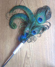Wedding Bridal Guest Book Pen with Peacock  by TessaRhewsDesigns
